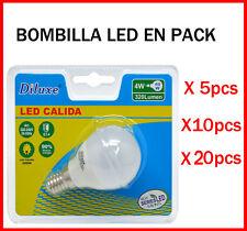 BOMBILLA LED 4W CASQUILLO PEQUEÑO E14 LUZ CALIDA 3000K PACK DE AHOORO DESDE 5 UD