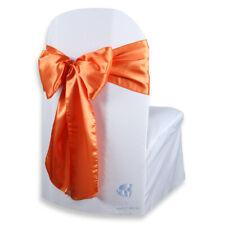 "150 pcs Satin Chair Cover Bow Sash 108""x8"" - Orange - Wedding Party Banquet wt"