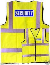 SECURITY Hi-vis SAFETY VEST WAISTCOAT ZIPPED & ID S - 6XL front&back EN471