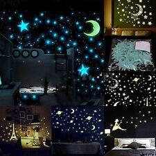 100 Pcs 3D Stars Glow In The Dark Luminous Fluorescent PVC Wall Stickers 3.8cm H