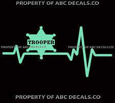 VRS Heart Beat Line POLICE TROOPER Uniform Badge Department DPT CAR VINYL DECAL