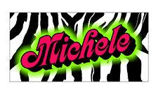 Personalized Monogrammed Custom License Plate Auto Car Tag Zebra Stripe Hot Pink
