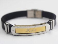 Men's Name Bracelet - Stainless Steel   Silicone   Wedding   Anniversary