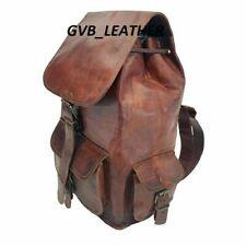 Rucksack Day Pack Collage Bag Vintage Genuine Leather Laptop Backpack Hiking