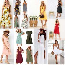 New Women Boho Sling Lace Dress Evening Party Beach Summer Short And Long Dress