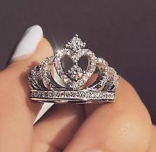 Women's Fashion Jewelry Silver Crystal Crown Heart Zircon Ring 79-1/2