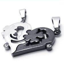 Collana per coppia Cuore Puzzle Acciaio inox 2 Ciondolo + 2 Trifoglio nero 1