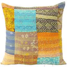 40.6cm colorato seta Kantha decorativo Fodera per cuscino Boho Bohémien IND