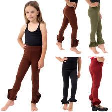 Girls Frill Hem high waisted Trousers Cigarette Gathered Ruffle Bottom Legging