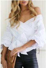 DE Damen Rückenfrei Bandage Bowknot Carmen Hemd Tunika Blusen Shirt Wickeltops