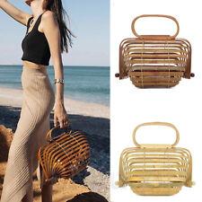 Womens Lantern Bamboo Bags Basket Nest Bags Hollow Large Tote Handmade Beach Bag