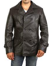 Linea uomo giacca in pelle marrone BALLA doppio petto REEFER TRINCEA Stile Militare Cappotto