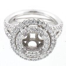 14k White Gold Semi Mount Split Shank Double Halo Diamond Ring Setting 1.32 TCW