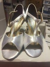 "Dancesport BR08 Ballroom Shoes WHITE Satin Ladies 5-6.5M 2.5"" heel Dance Wedding"