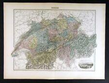 1880 Migeon Map Switzerland Berne Geneva Zurich Alps