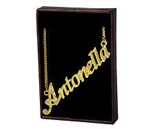 Collar Con Nombre Antonella – 18K Chapado En Oro   Checa Pedrería Cadena Barbada