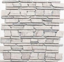 Mosaik versetzt Marmor Grau Wandverblender Sauna Bad WC | 40-0230_f | 10 Matten