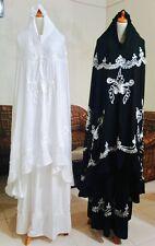 Embroidered 3 Piece Prayer Hijab in A Matching Bag Long Khimar Ihram Umrah Haj