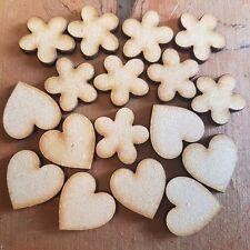 Pack Mixta Corazones y Flores MDF de madera forma Adornos Madera Craft Arte