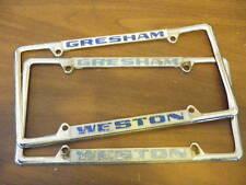 Gresham OR Weston Buick License Plate Frames Pair Set Embossed Metal Holder Tag