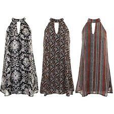 Ladies Sleeveless Chiffon Lined Blouse Flare Tunic Stripe Floral Mini Dress
