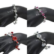 Diamante Bracelet Rhinestone Crystals Flower Bridal Wedding Prom Gift Boxed