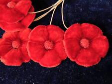 Vintage Millinery Flower Velvet True Red 6pc Bunch Hat Wedding Hair SB