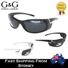 G&G Sports Wrap Around Men Sunglasses Polarized Lenses Outdoor Fishing White