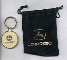John Deere Logo Key Chain in Black Velvet Bag NEW Promotional item
