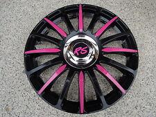 """4 Alu-Design Radkappen in 13 Zoll """"Grand Prix CRAZY"""" schwarz/pink RS"""