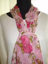 Damen Tuch Schal rosa oder grün Blumen Rosen 160x50 NEU