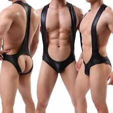 Men's  Faux Leather Boxer Body Leotard Sexy Halter Hip Cutout Bodysuit Underwear