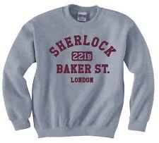 """SHERLOCK HOLMES """"221b BAKER ST. LONDON"""" SWEATSHIRT NEW"""
