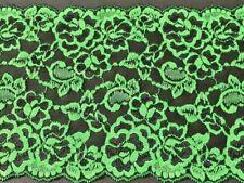 "laverslace Beautiful Black and Emerald Green Floral Stretch Lace Trim 7""/17.5cm"