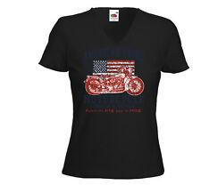 Biker Damen T-Shirt American Pride Motorcycle USA Bike Racing USA