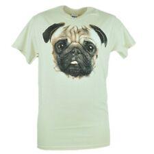 Pug Graphic Tee Adult Beige Tshirt Dog Puppy Face Shirt Best Bud Animal