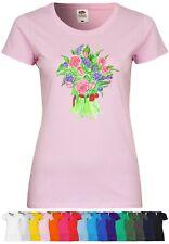 UL156 F288N Damen T-Shirt mit Motiv Flower Bouquet   Baumwolle Print Kurzarm