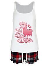 Llama Alarm Beep Beep Women's White Short Pyjama Set