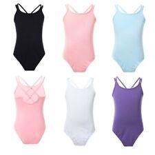 US Girls Ballet Gymnastics Dance Leotard Double Straps Bodysuit Dancewear 3-14Y