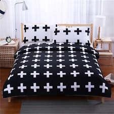 Black White Cross 3D Quilt Duvet Doona Cover Set Single Double Queen King Print