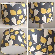 Scion Rosehip Lemon, Gull and Blue Fabric Drum Lampshade [15 20 25 30 35 40cm]