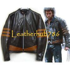 Celebrity Wolverine X MEN ORIGINS Replica Brown Mens Lambskin Leather Jacket 373