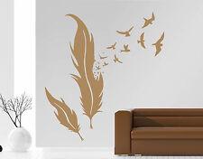 Wandaufkleber: Feder - Vögel Wohnzimmer Schlafzimmer Flur Wind Natur /WandTattoo