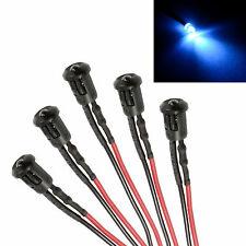 5 X BIANCO lampeggiante PRE cablato 3MM LED + GHIERA SUPPORTO LUCE LAMPADA 12V