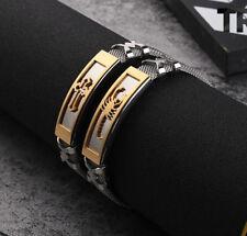 Mens Stainless Steel 10mm Mesh Chain Gold Cross Scorpion Bracelet Wristband