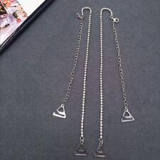 1 Pair Women Bra Straps Shoulder Belt Crystal Rhinestone Metal Hook Blak Silver