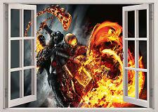 Ghost Rider Biker Demone di Fiamma Teschio finestra 3D vista Wall Sticker Vinyl POSTER 366