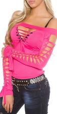 Señora Gogo camisa top blusa caqui rosa negro con sexy robaban talla S M #272 nuevo