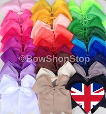 Large Double Bow Plain Cheerleader Hair Bow Bobble Elastic School Girl