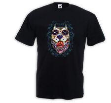 Mexican T-Shirt Bulldog Tattoo Sugar Skull Rockabilly Pitbull Hund
